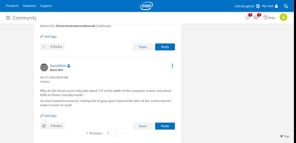 Intel Forums Waste Space