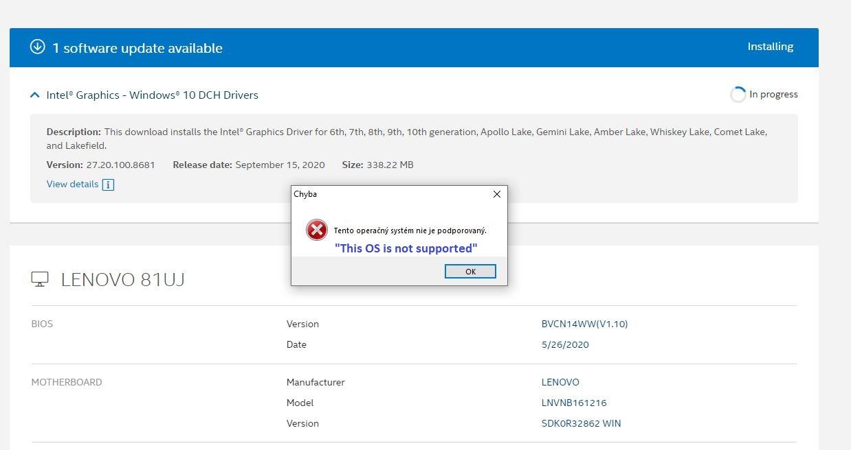 Solved Intel® Graphics   Windows® 10 DCH Driver Error