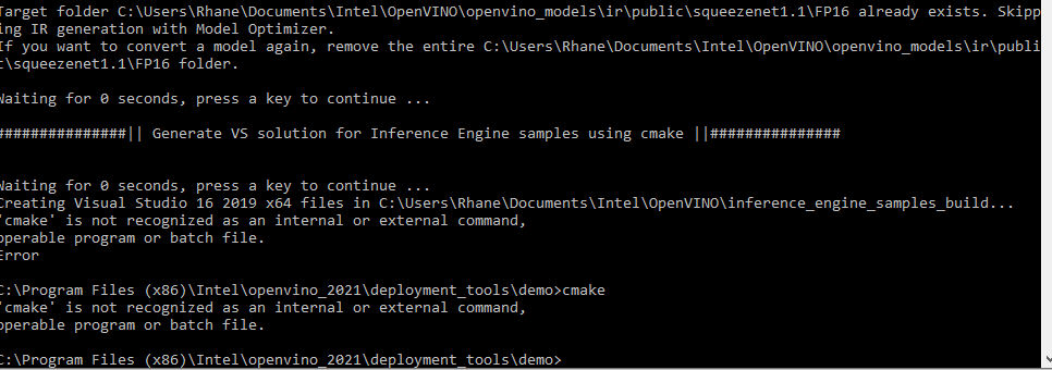 Cmake error using cmd to check if it's available.PNG